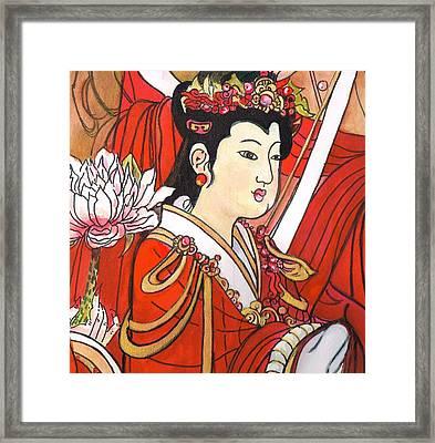 Scarlet Lady Framed Print by Barbara Surick