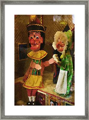 Scary Punch And Judy Framed Print by Doc Braham