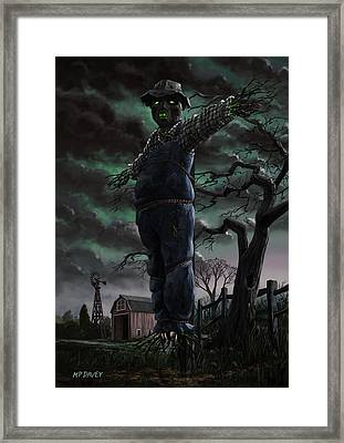 Scary Scarecrow In Field Framed Print by Martin Davey