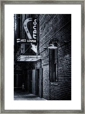 Scat Lounge In Cool Black And White Framed Print by Joan Carroll