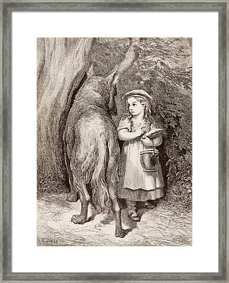 Scene From Little Red Riding Hood Framed Print by Gustave Dore