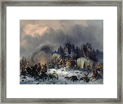 Scene From The Russian-french War In 1812 Oil On Canvas Framed Print by Bogdan Willewalde