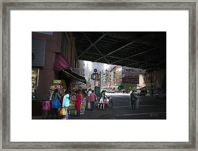 Scene Under The Manhattan Bridge Framed Print by Madeline Ellis
