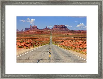 Scenic Road Into Monument Valley Framed Print by Johnny Adolphson