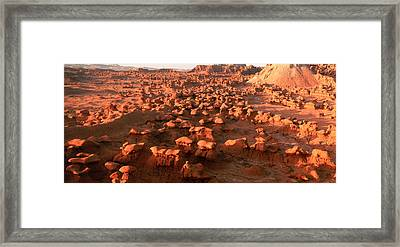 Scenic Rock Sculptures At Goblin Valley Framed Print by Panoramic Images