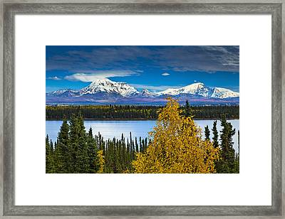 Scenic View Of Mt. Sanford L And Mt Framed Print by Sunny Awazuhara- Reed
