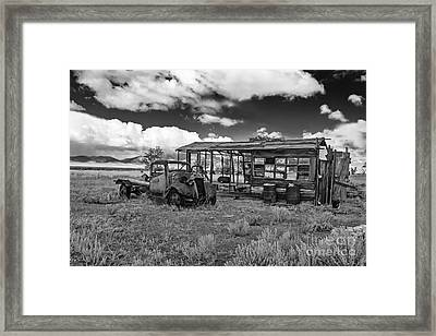 Schellbourne Station And Old Truck Framed Print by Robert Bales