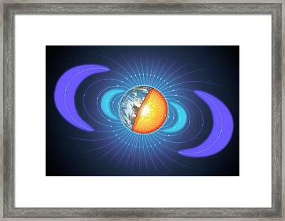 Schematic Of Van Allen Radiation Belts Framed Print by Mark Garlick