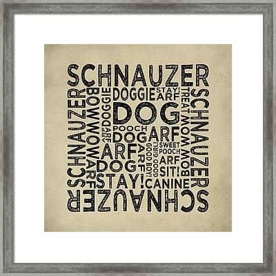Schnauzer Typography Framed Print by Flo Karp