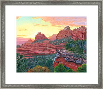 Schnebly Hill Sunset Framed Print by Steve Simon