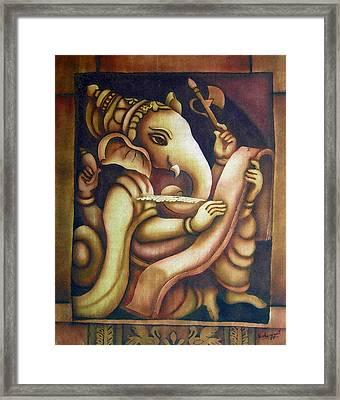 Scholar Ganesh Framed Print by Vishwajyoti Mohrhoff