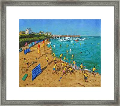 School Outing New Quay Wales Framed Print by Andrew Macara