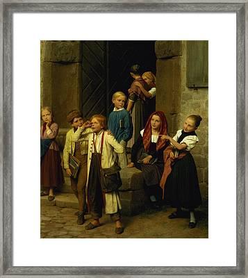 Schoolchildren Watching A Boy Cry Framed Print by Friedrich Edouard Meyerheim