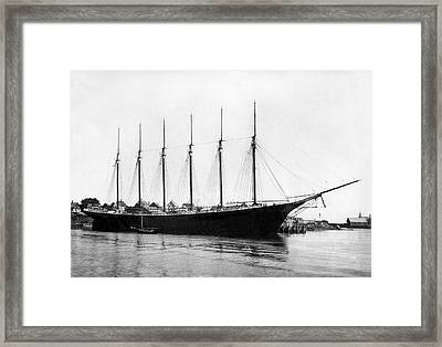 Schooner In Maine Framed Print by Underwood Archives