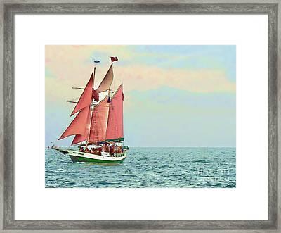 Schooner Jolly Rover Key West Framed Print by Joan  Minchak