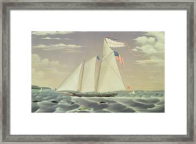 Schooner Lewis R Mackey Framed Print by James Bard