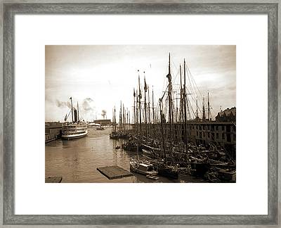 Schooners At &quott&quot Wharf, Boston, Mass, Piers & Framed Print by Litz Collection