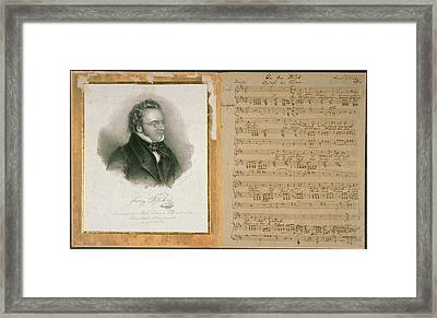 Schubert Song And Portrait Framed Print by British Library