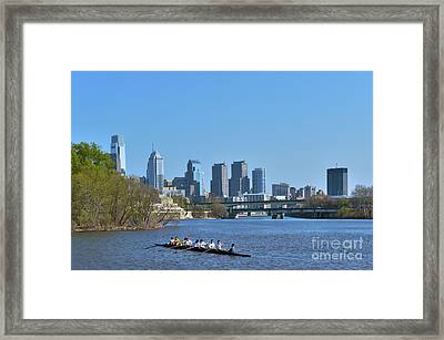 Schuylkill River Skulling Phila Pa Skyline Framed Print by David Zanzinger