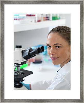 Scientist With Microscope Framed Print by Tek Image