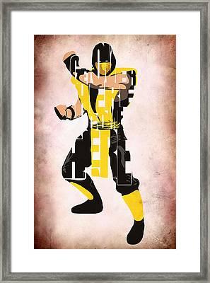 Scorpion - Mortal Kombat Framed Print by Ayse Deniz