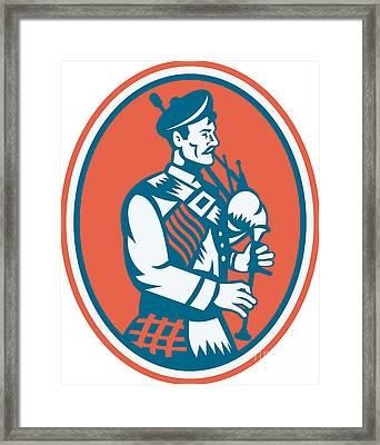 Scotsman Scottish Bagpipes Retro Framed Print by Aloysius Patrimonio