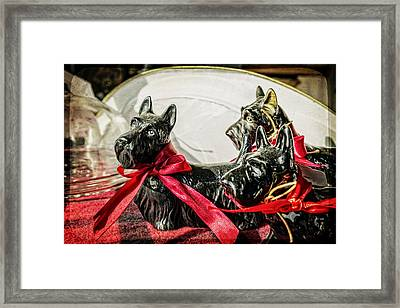 Scotties In The Window Framed Print by Caitlyn  Grasso