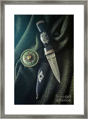 Scottish Dirk And Celtic Pin Brooch On Plaid Framed Print by Sandra Cunningham