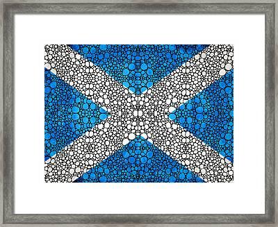 Scottish Flag - Stone Rock'd Scotland Art By Sharon Cummings Framed Print by Sharon Cummings