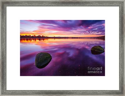 Scottish Loch At Sunset Framed Print by John Farnan