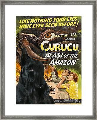 Scottish Terrier Art Canvas Print - Curucu Movie Poster Framed Print by Sandra Sij