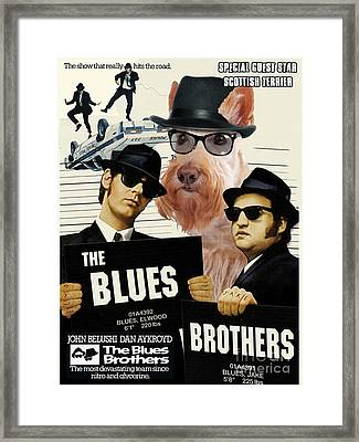 Scottish Terrier Art Canvas Print - The Blues Brothers Movie Poster Framed Print by Sandra Sij