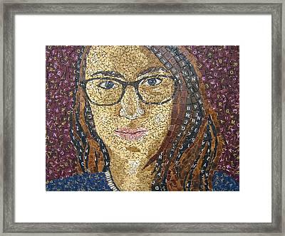 Scrabble Tile Portrait Framed Print by Monique Sarfity