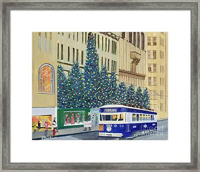 Scranton Christmas Trolley Framed Print by Austin Burke