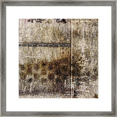 Scratched Metal And Old Books Number 2 Framed Print by Carol Leigh