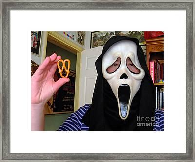 Scream And The Scream Pretzel Framed Print by Jim Fitzpatrick