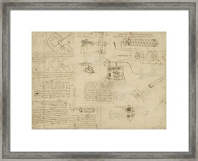Screws And Lathe Assembling Press For Olives For Oil Production And Components Of Plumbing Machine  Framed Print by Leonardo Da Vinci