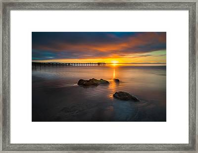 Scripps Pier Sunset 2 Framed Print by Larry Marshall