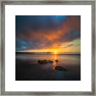 Scripps Pier Sunset 2 - Square Framed Print by Larry Marshall