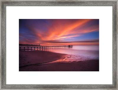 Scripps Pier Sunset Framed Print by Larry Marshall