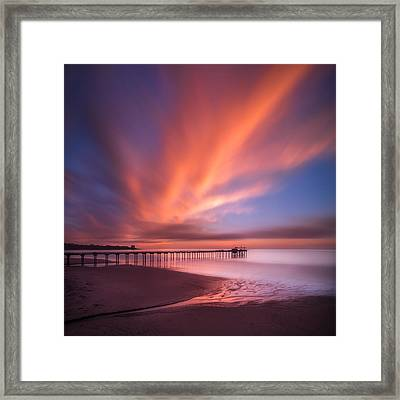 Scripps Pier Sunset - Square Framed Print by Larry Marshall