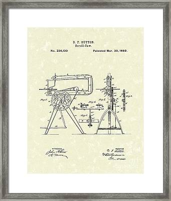 Scroll-saw 1880 Patent Art Framed Print by Prior Art Design