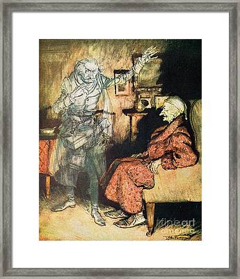 Scrooge And The Ghost Of Marley Framed Print by Arthur Rackham