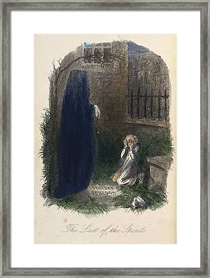 Scrooge Visited By The Last Ghost Framed Print by British Library