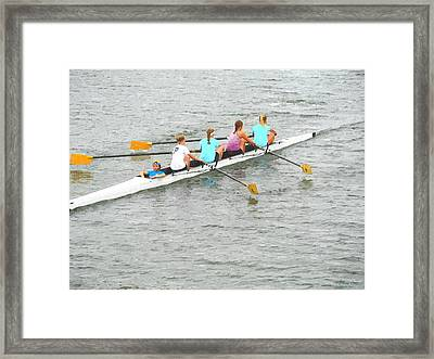 Sculling Team On Palm River  Framed Print by Buzz  Coe