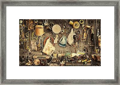 Sculptors Workbench Framed Print by Ron Regalado
