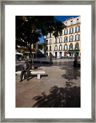 Scupture Of Picasso On The Plaza De La Framed Print by Panoramic Images