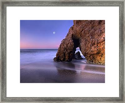 Sea Arch And Full Moon Over El Matador Framed Print by Tim Fitzharris