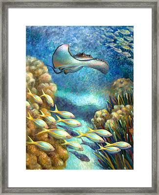 Sea Food Chain - Stingray Framed Print by Nancy Tilles