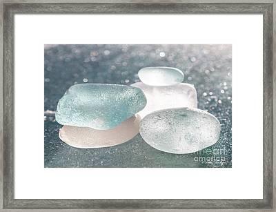 Sea Glass Aqua Shimmer Framed Print by Barbara McMahon